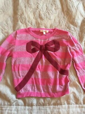 Gorgeous Pink Seed Jumper With Bow , Size 1 - 2