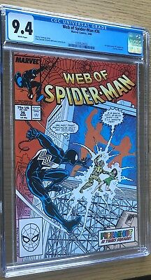 Web of Spider-Man 36 CGC 9.4 WHITE pgs, 1st Tombstone (1988) - NR
