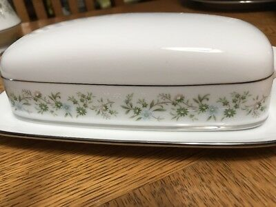 Noritake Savannah 2031 Fine China Covered Butter Dish Server Platinum Trim