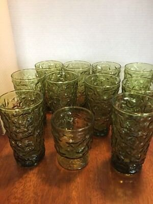 Vintage Green Drinking Glasses set of 10 and 1 ice tea glass