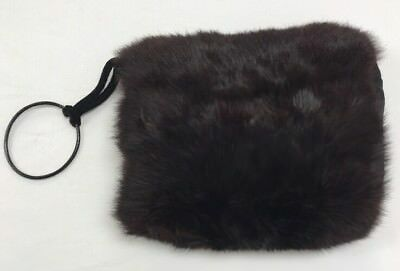 Brownish Red Real Fur Vintage High Fashion Winter Muff