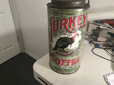 Turkey Brand Roasted Coffee Tin Container, 3 Lbs Very Good ++ Condition