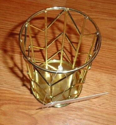 New U BRANDS Pencil Cup, Desk Supplies Holders & Dispensers Wire Metal GOLD