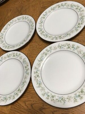 NORITAKE SAVANNAH 2031, Set of 4 BREAD & BUTTER DESSERT PLATES, PLATINUM RIM `