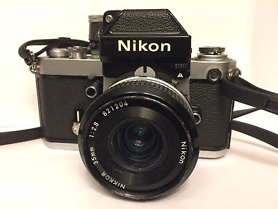 Nikon F2 Photomic A SLR Film Camera + Lens and strap silver Japan