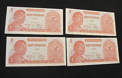 Lot of 4 1968 Indonesia 1 Rupiah Notes with Consecutive Serial Numbers