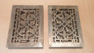 "Pair of Rare small Antique Victorian cast iron Heat Grate Registers: 6""x8"""