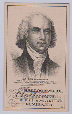 1880 H602 U.S. Presidents Trade Card (Hallock & Co. Clothiers) - James Madison