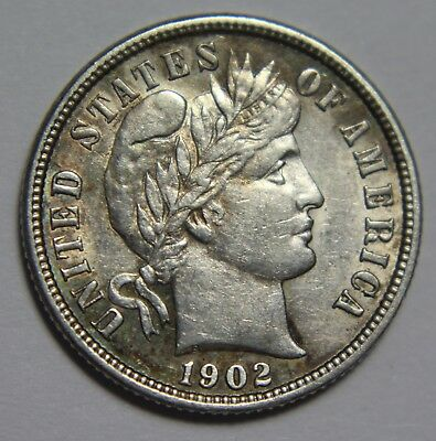 1902-P Barber Dime Liberty Head 90% Silver High Grade Old US Coin Lot NR P1R R40