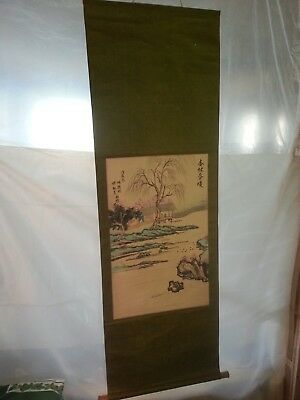 Vintage Hanging Asian House on Water Calligraphy Scroll Japanese/Chinese Origin?