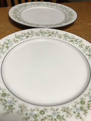 Set Of 2 Noritake Savannah Dinner Plates 2031 Platinum Rim `