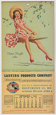"""1944 Lasting Products Quarterly Pinup Calendar (Gil Elvgren) """"Teeter Taught Her"""""""
