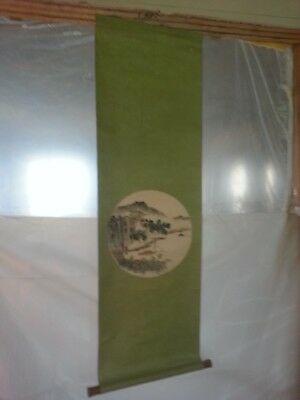 Vintage Hanging Asian Mountain/Trees Calligraphy Scroll Japanese/Chinese Origin