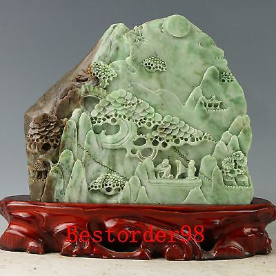 100% Natural Dushan Jade Handwork Carved Pine Tree & Old Man Statue YY080