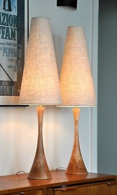 Mid Century Danish Eames Teak 'AMUS' Table Lamps with new shades PAIR