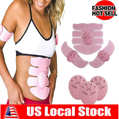 Pink ABS Muscle Arm Waist Magic EMS Training Gear Body Exerciser Simulation US