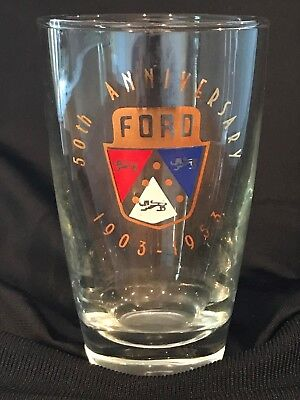 Vintage Ford 50th Anniversary (1903-1953) Drinking Glass Tumbler NO RESERVE