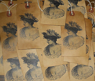 25 Large Romantic Victorian Nostalgic Woman Primitive Shabby Gift Hang Tags  A61
