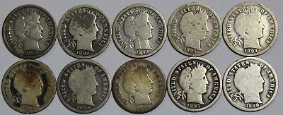 10x 1898-1901 P S O Barber Dime Liberty Head 90% Silver Old US Coin Lot P1R R47