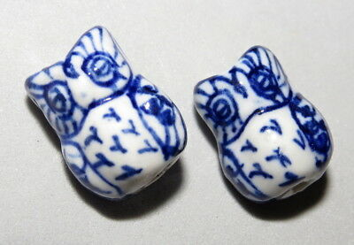 Vintage Chinese Bead Ceramic Hand Painted Blue White