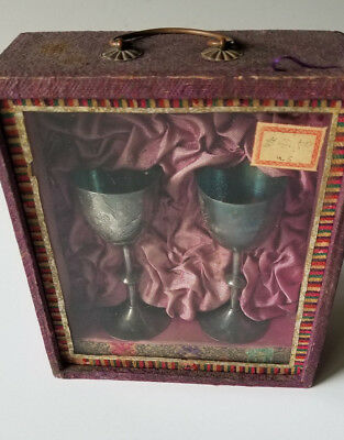Chinese Sterling Silver Cups Congrats Newborn Baby In Box