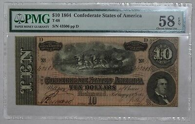 1864 CSA Richmond VA $10 PMG Choice AU58 EPQ Civil War Era US Paper Currency