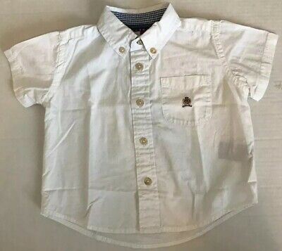 TOMMY HILFIGER Baby Boys Size 6-12M White Short Sleeve Button Down Dress Shirt