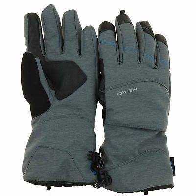 HEAD Womens Dupont Sorona Insulated Ski Glove With Pocket GREY BLUE SMALL