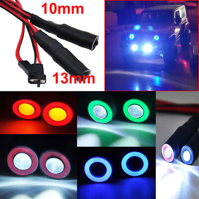 2 Leds 10mm/13mm Angel Eye LED Light Headlight Bulb for 1/10 RC Crawler Truck