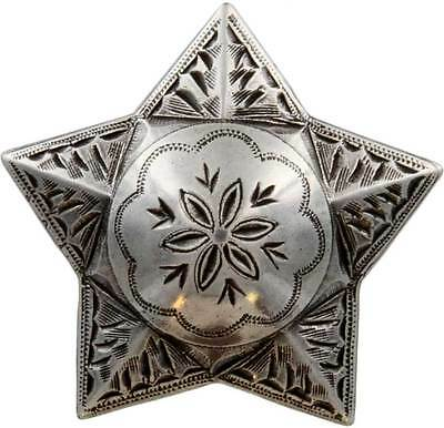 """Antique Silver, Star, Engraved Windrose Concho 1 1/2"""" (38mm)"""