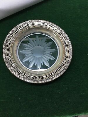 Frank M Whiting & Co Talisman Rose Sterling Silver & Cut Glass Wine Coaster Dish