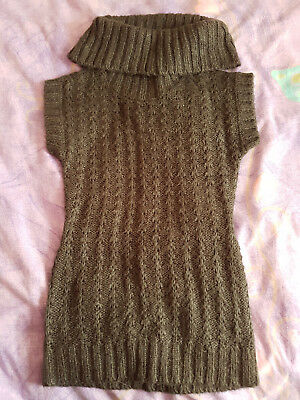 Girls Charlie & Me charcoal grey knitted long roll-neck vest, size 6, Vgood cond