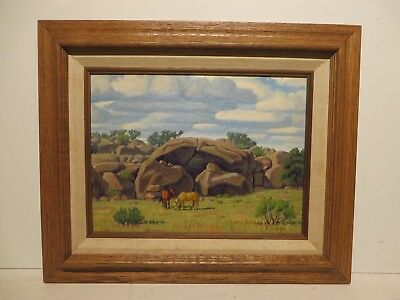 "9x12 org. 1950 oil painting by Fred Darge of the""Davis Mtns. Tx. Point of Rocks"""