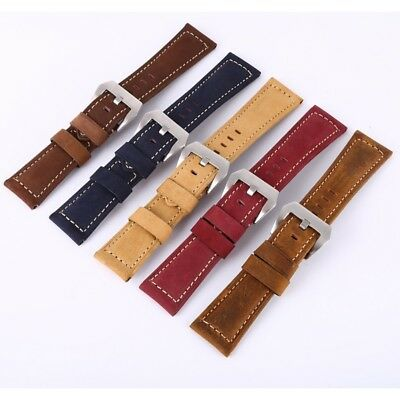US High Quality Genuine Leather Padded Wrist Watch Band Strap Belt 20 22 24 26mm