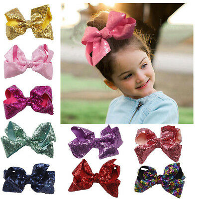 Baby Girl Kids Hair Bow Alligator Clips Large Sequin Bowknot Barrettes 11cm
