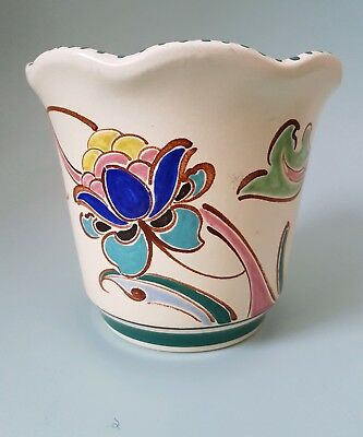 Vintage Honiton Pottery Jardiniere Plant Pot Hand Painted Floral