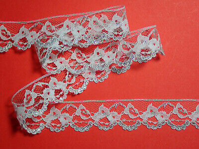 "5 METRES Pretty White and Silver Nottingham Lace Trim 1""/2.5cm  TOP SELLER"