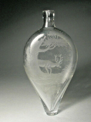 Top Biedermeier Jagdlicher Glasflakon Hirsch 1831 Hunting Flask Stag Brandy