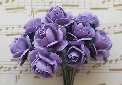 100! Cute Mulberry Paper Roses - 10mm - Lavender Purple Rose Embellishments!