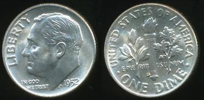 United States, 1952-D Dime, Roosevelt (Silver) - Uncirculated