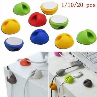 1/10/20pcs Colorful Cable Organizer Clip USB Charger Cord Holder Wire Fixed Cute