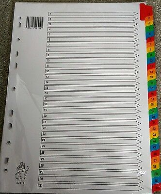 A4 Multi Coloured Mylar 1-31 Numbered Index Subject File Folder Dividers WX01522