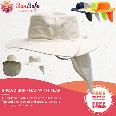 Hat With Flap Mens and Womens Unisex Broad Full Brim Chin Strap Outdoor Sun Hat