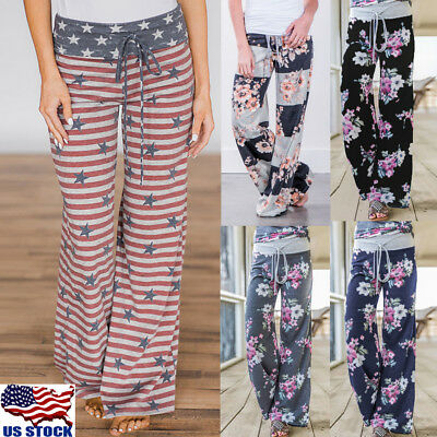 Women Sports Palazzo Pants Floral Wide Leg Relaxed Yoga Loose Casual Trousers US