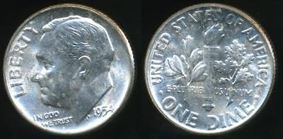 United States, 1954 Dime, Roosevelt (Silver) - Uncirculated