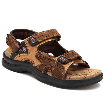 Mens Summer Breathable Leather Sandals Casual Open Toe Beach Sandals Flat Shoes