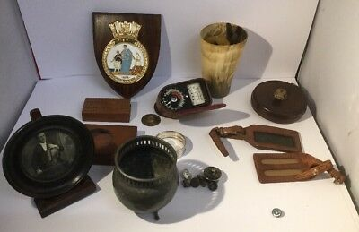Lot Of Antique  Gentlemans Collectibles - Leather, Metal, Marine Society Plaque