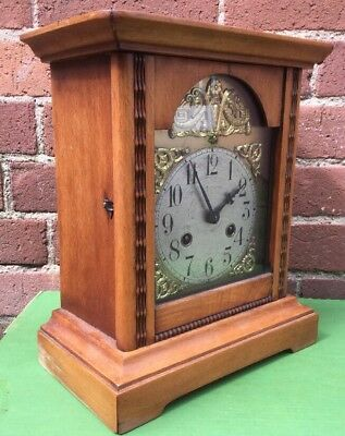 Antique Junghans Pine Case Arts Crafts Style Mantle Clock - Spares / Repairs.