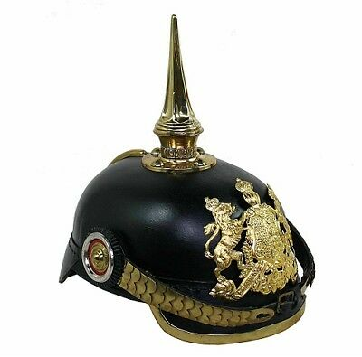 HOME MADE Prussian Helmet German Leather Pickelhaube Helmet with Brass Chinstrap
