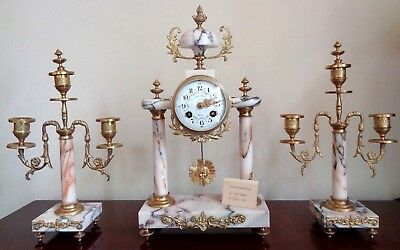 Marble and Ormolu French Mantel Clock Garniture 1850 Japy Freres Movement